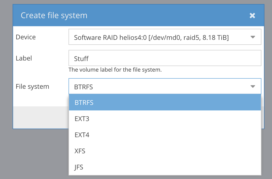 Creating filesystems in Helios 4