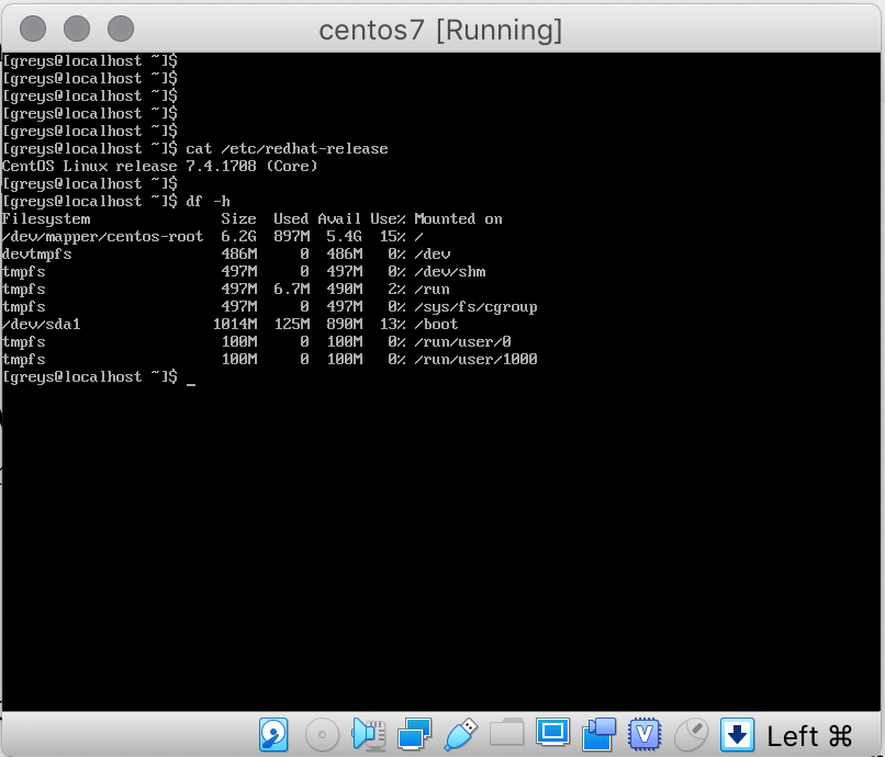 VirtualBox 6 running CentOS 7.4 VM