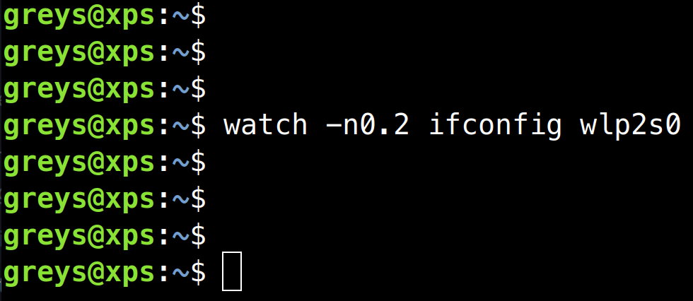 watch ifconfig command with 0.2s interval